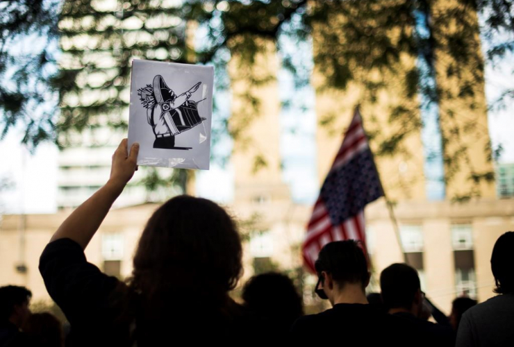 People protest, white supremacist movement, racism, United States consulate, Toronto,