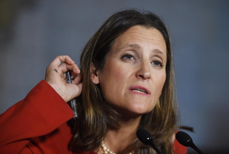 Foreign Affairs Minister Chrystia Freeland, reporters, press conference, Parliament Hill, Ottawa