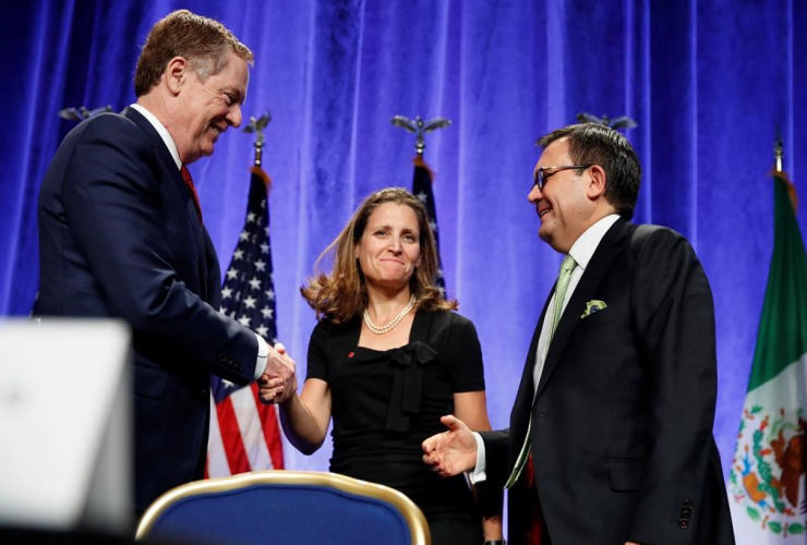 Robert Lighthizer, Chrystia Freeland, Ildefonso Guajardo Villarreal, news conference,  NAFTA renegotiations