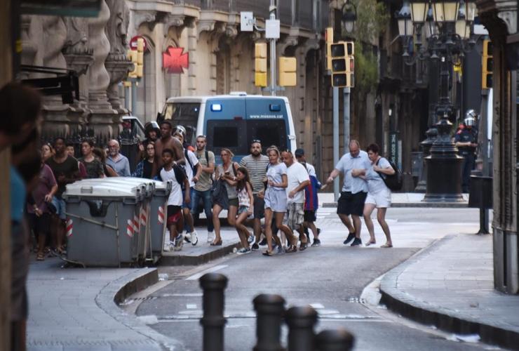 People, flee, van, Las Ramblas, Barcelona, Spain, crashing, residents, tourists