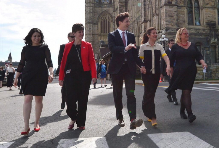 Maryam Monsef, Marie-Claude Bibeau, Prime Minister Justin Trudeau, Sophie Gregoire Trudeau, Katja Iversen