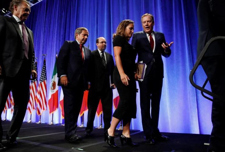 Robert Lighthizer, Chrystia Freeland, news conference, NAFTA renegotiations, Washington,