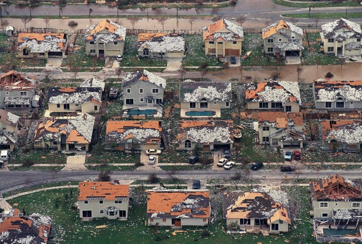 damaged houses, Homestead, Florida City, Hurricane Andrew,