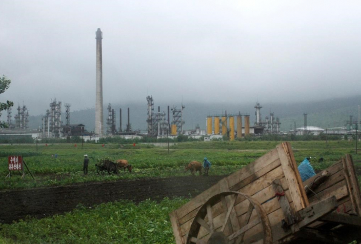 farmers, work, fields, Sungri Chemical Factory, oil refinery, Rason Special Economic Zone, North Korea,