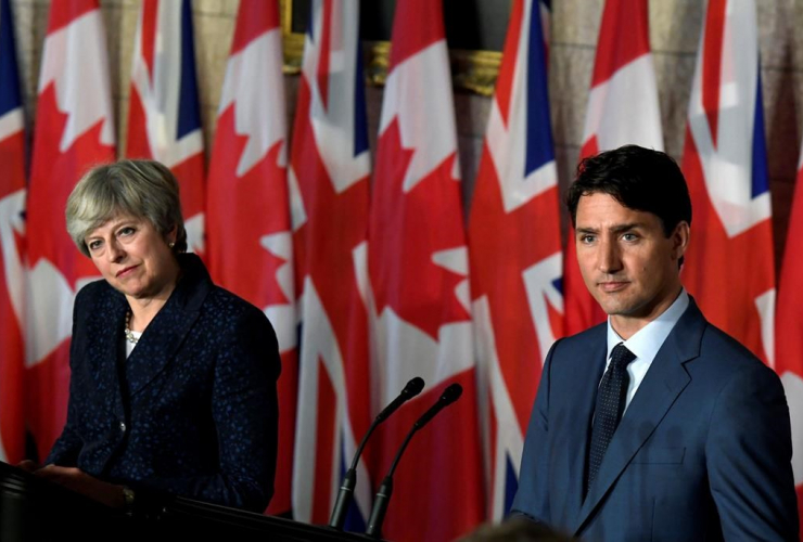 Prime Minister Justin Trudeau, British Prime Minister Theresa May, press conference, Parliament Hill, Ottawa
