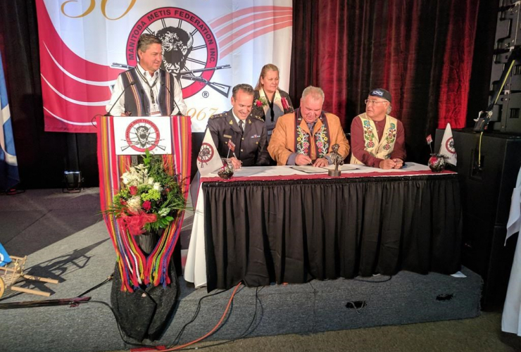 Kevin Brosseau, David Chartrand, Clement Chartier, signing ceremony, Manitoba Metis Federation, Annual General Assembly, Winnipeg