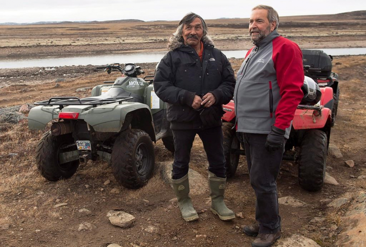 NDP Leader, Tom Mulcair, Jack Anawak, Sylvia Grinnell Territorial Park, Iqaluit, Nunavut