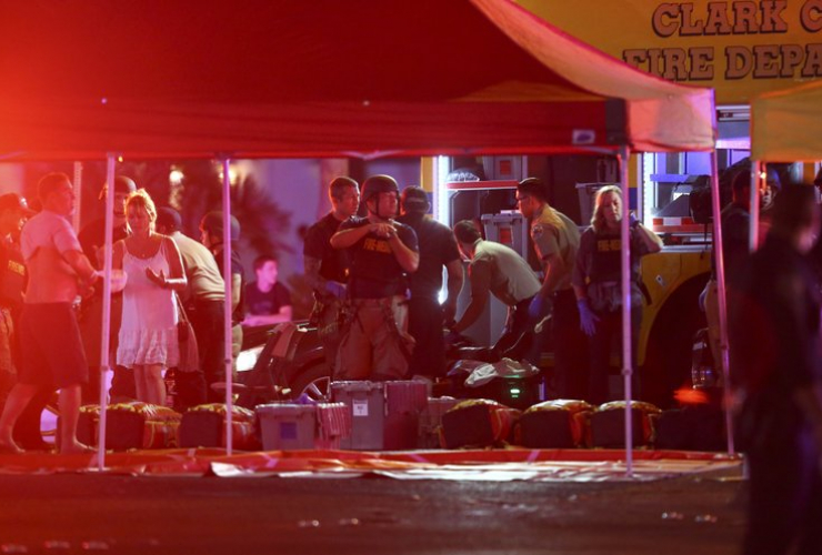 Medics treat wounded in Las Vegas on Oct. 1, 2017