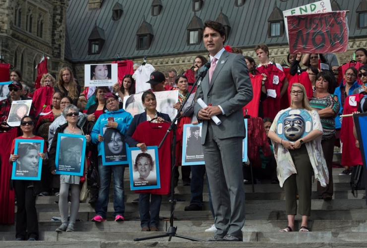 Prime Minister Justin Trudeau, Families of Sisters in Spirit Vigil, missing and murdered indigenous women,