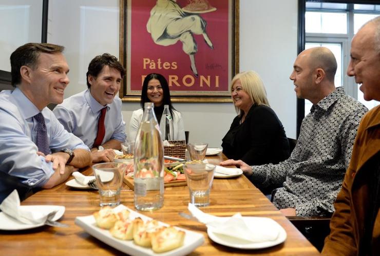 Bill Morneau, Justin Trudeau, Bardish Chagger, family-run restaurant, Pastaggio Italian Eatery, Whitchurch-Stouffville,