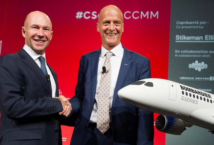 Bombardier, President, CEO, Alain Bellemare, Airbus CEO, Tom Enders, shake hands, business meeting, Montreal