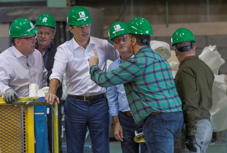 Prime Minister Justin Trudeau, Resolute Forest Products plant, Richard Hebert, Lac-Saint-Jean riding,
