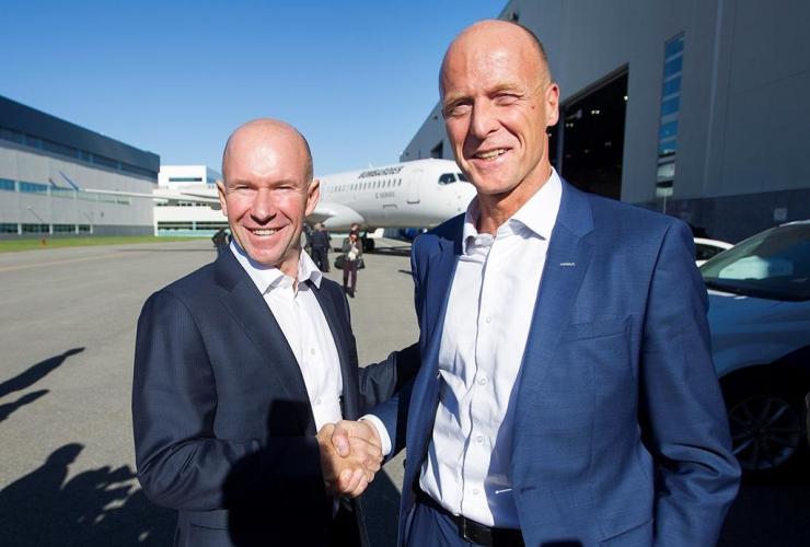 Tom Enders, Alain Bellemare, Bombardier, Mirabel plant, Mirabel, Quebec,