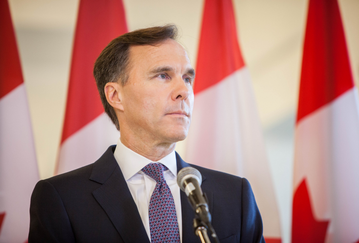 Finance Minister Bill Morneau speaks to reporters in Ottawa on Oct. 24, 2017.