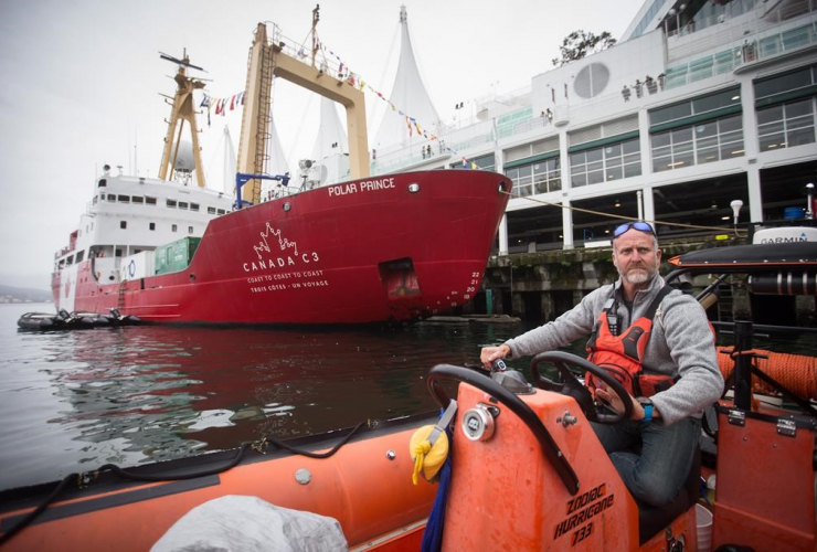 Expedition manager, Scott McDougall, Chelsea, zodiac boat, harbour, Polar Prince ship, Vancouver,