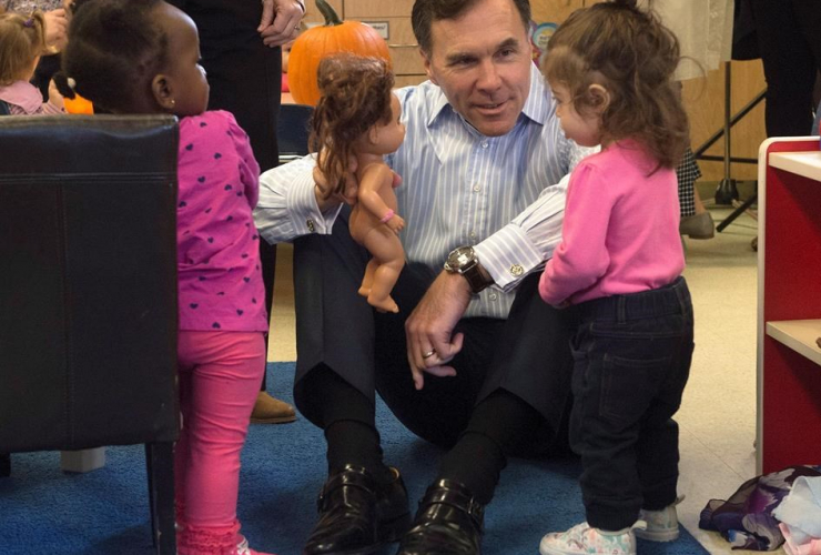 Minister of Finance Bill Morneau, plays, daycare centre,