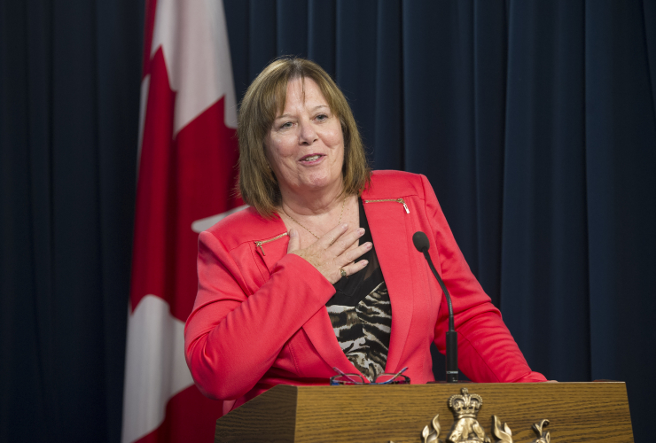 Alberta Energy Minister Margaret McCuaig-Boyd takes questions from reporters about her government's oil royalty review in Edmonton, Alta. on Aug. 28, 2015.