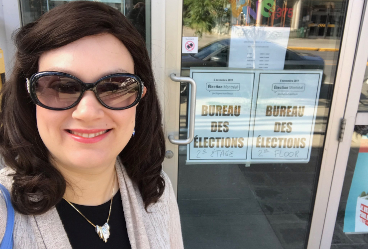 Outremont borough councillor Mindy Pollak poses for a selfie upon depositing her official declaration of candidacy for the 2017 Montreal elections.