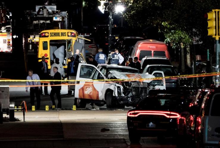 Home Depot truck, motorist, bike path, World Trade Center memorial, killing