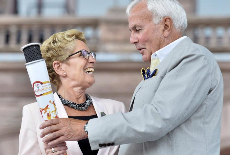 Kathleen Wynne, honourary Pan Am Games torch, David Peterson, Toronto 2015 Pan Am, Parapan Am Games, Queen's Park, Toronto,