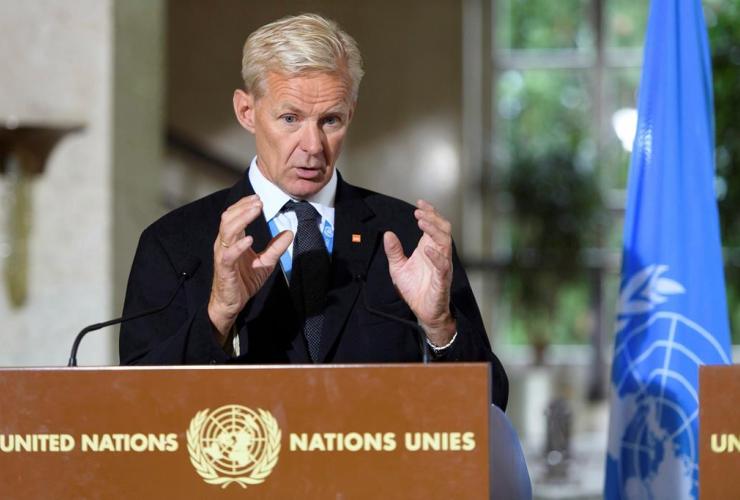 Jan Egeland, Special Advisor, UN Special Envoy, Syria, International Syria Support Group, Humanitarian Access Task Force, European headquarters, United Nations, Geneva, Switzerland,