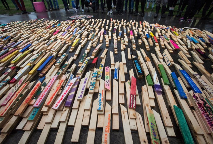 People, wooden stakes, overdose deaths, British Columbia, Oppenheimer Park,