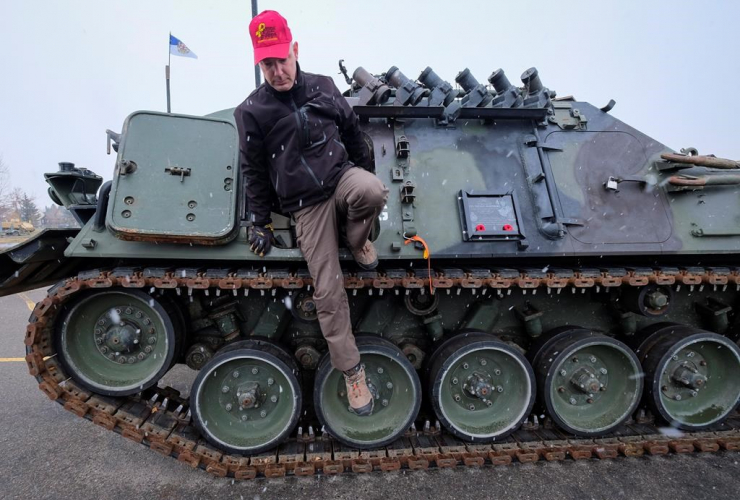 Canadian Forces veteran, John Senior, de-commissioned armoured vehicle, therapy, PTSD, Military Museums, Calgary,