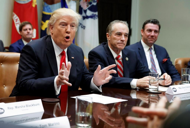 President Donald Trump, Chris Collins, Roosevelt Room, White House, Washington,