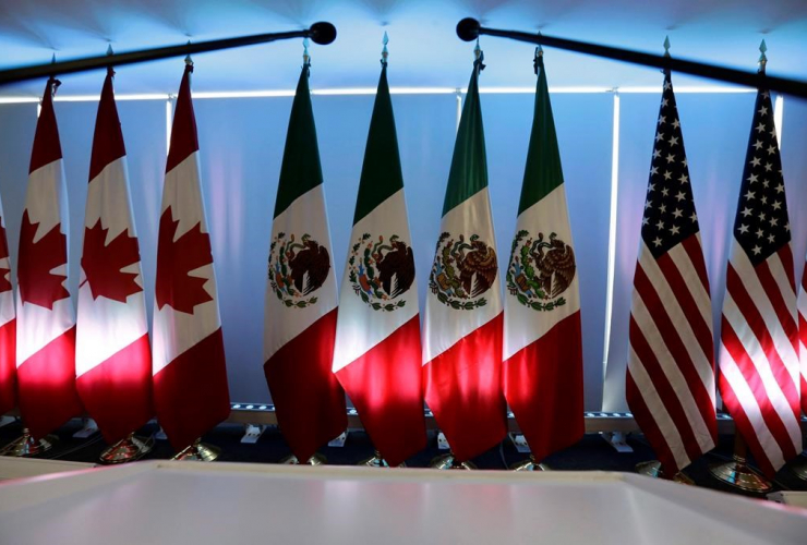 National flags, Canada, Mexico, U.S., North American Free Trade Agreement, NAFTA, renegotiations, Mexico City,