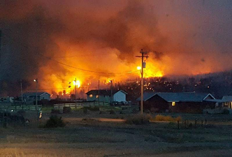 Flames from wildfires could be seen every night from the Tl-etinqox First Nation. Photo submitted.