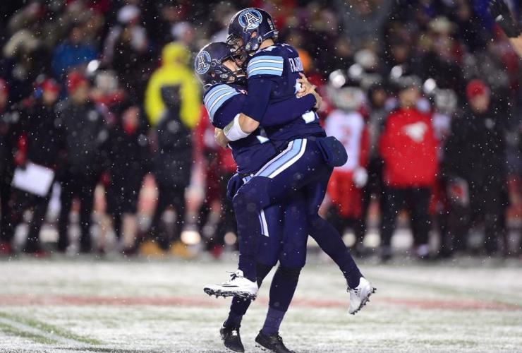 Toronto Argonauts kicker Lirim Hajrullahu, field goal, backup quarterback Cody Fajardo, CFL, 105th Grey Cup,