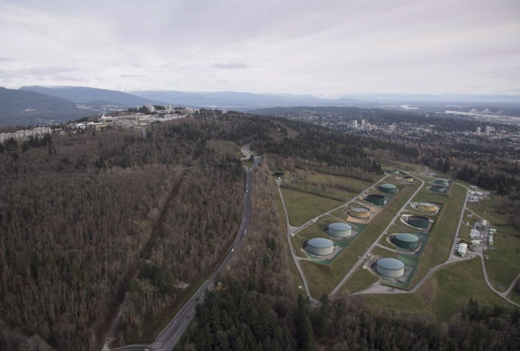 Kinder Morgan, Trans Mountain Expansion Project, oil storage tank farm, green tanks, Burnaby,
