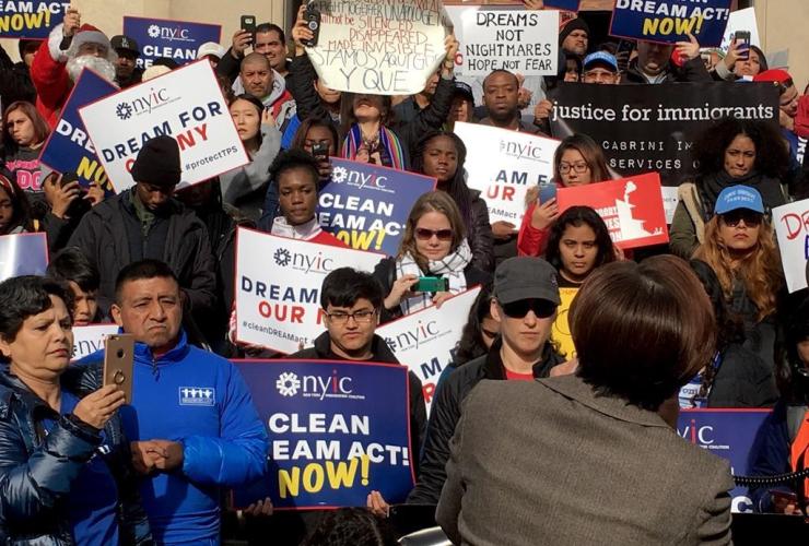Pro-immigrant protesters, Democratic congresswoman, Nydia Velazquez,
