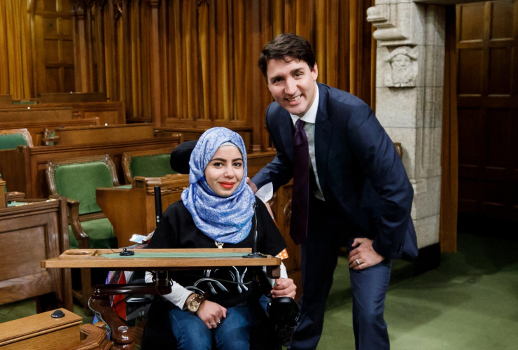 15-year-old Syrian refugee Marwa Harb meets Justin Trudeau
