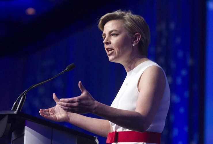 Candidate Kellie Leitch speaks during the opening night of the federal conservative leadership convention in Toronto on Friday, May 26, 2017.