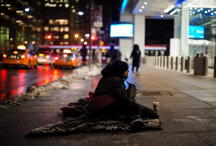 homeless person, downtown Toronto,