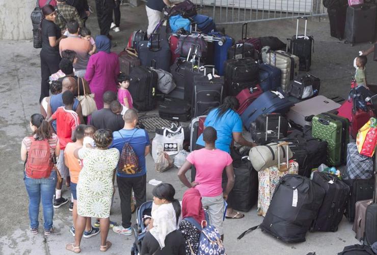 Asylum seekers, Olympic Stadium, Montreal, Quebec,