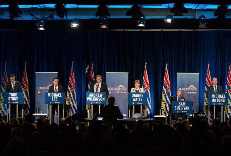 BC Liberals, debate, election, Mike de Jong