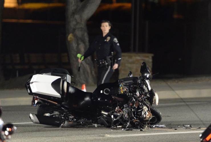 damaged, motorcycle, motorcade, Prime Minister Justin Trudeau, accident, Simi Valley,