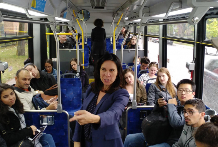 Valérie Plante campaigned on a Montreal city bus in October, 2017. Photo from Facebook