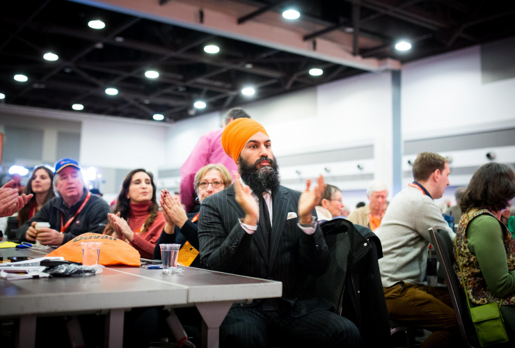 NDP leader Jagmeet Singh at the national NDP convention in Ottawa on February 16, 2018. Singh is expected to address delegates Saturday. Photo by Alex Alex Tétreault