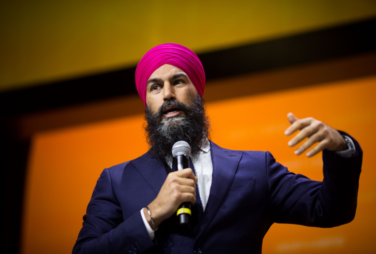NDP leader Jagmeet Singh addresses the party's national convention in Ottawa on Feb. 17, 2018. Photo by Alex Tétreault