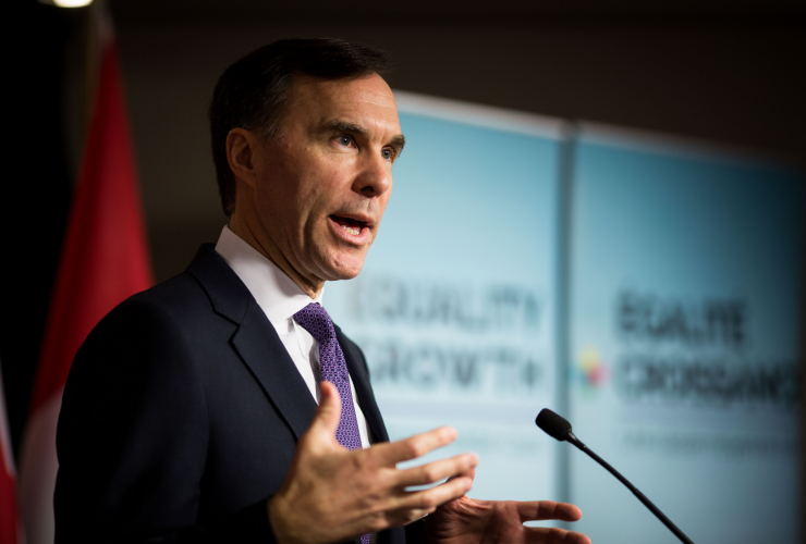 Finance Minister Bill Morneau addresses the press as the Liberal federal government unveils the 2018 budget at the John D. Diefenbaker building in Ottawa on Tuesday, February 27th, 2018.