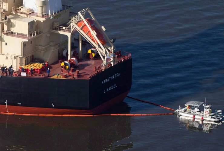 spill response boat, boom, bulk carrier cargo ship, MV Marathassa, bunker fuel spill, Burrard Inlet, Vancouver,