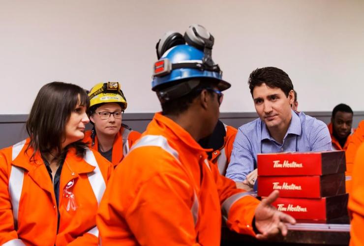 Prime Minister Justin Trudeau, workers, Stelco Hamilton Works, Hamilton,