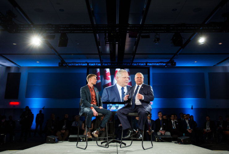 Progressive Conservative Party of Ontario leadership hopeful Doug Ford sits on stage with reporter Anthony Furey for an interview on Day Three of the Manning Networking Conference in Ottawa on February 10, 2018. Photo by Alex Tétreault