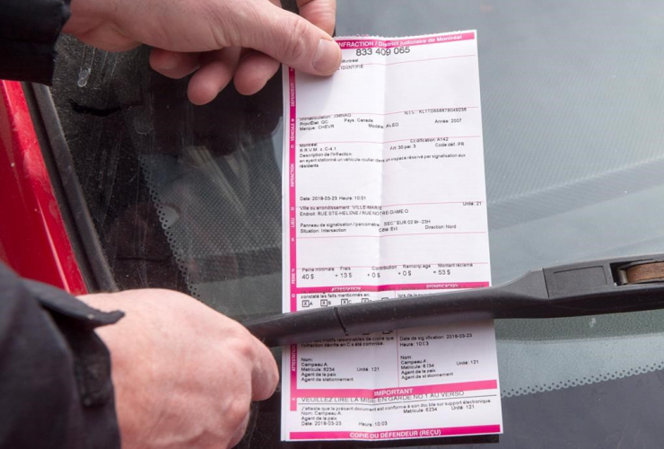 parking ticket, windshield, Montreal,