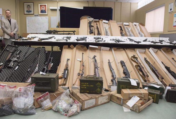 Longueuil police, seized firearms, news conference, Longueuil,