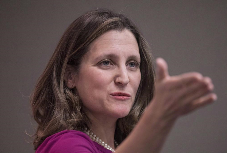 Foreign Affairs Minister Chrystia Freeland, news conference, Toronto,