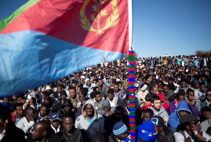 African migrants, Eritrean flag, protest, refugees, Israel's parliament, Jerusalem,
